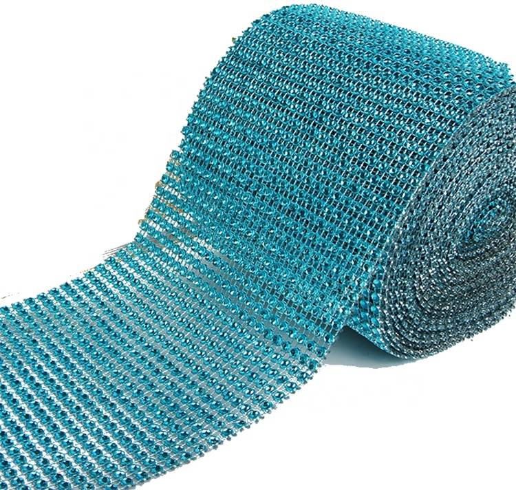 Wholesale Factory Good Price Cup Chain Blue Net Rhinestone Plastic Mesh