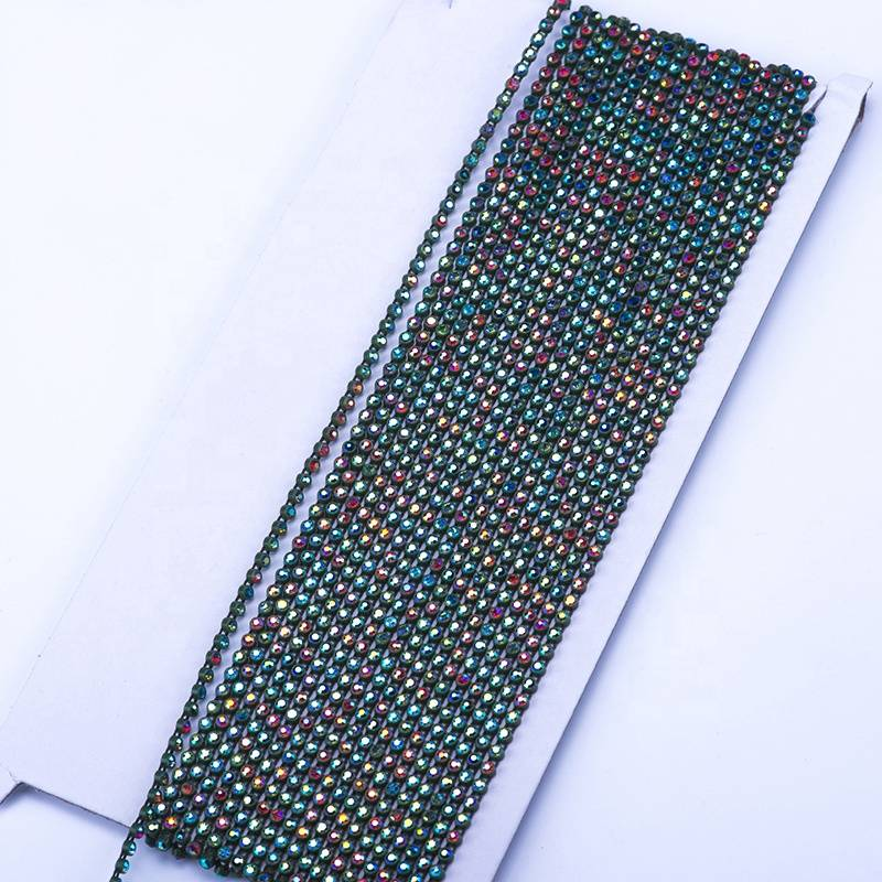 Cheap price Silver Rhinestone Trim - Wholesale and Custom Decorative Strips Army Green Bottom AB Color Rhinestones – Erjiao