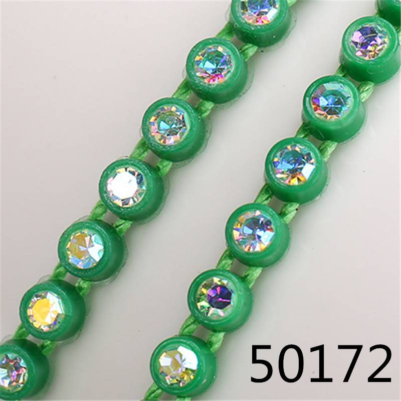 Wholesale Better Quality Colored Plastic Ss6 Ss12 For Beading 10 Yards Ss8 Rhinestone Banding