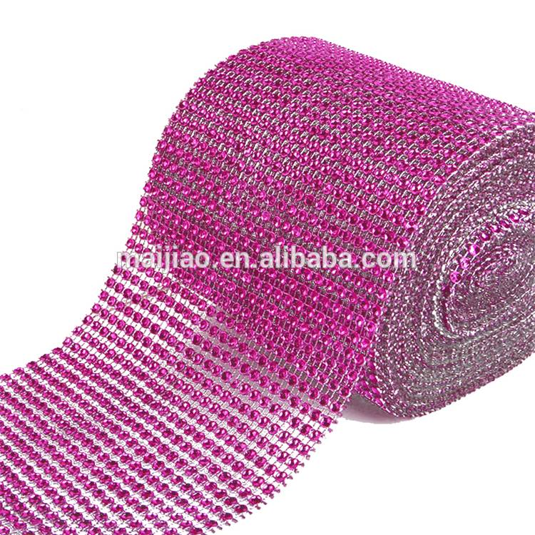 High Quality Factory Net 24 Rows Plastic Cup Chain Rhinestone Mesh Trimming