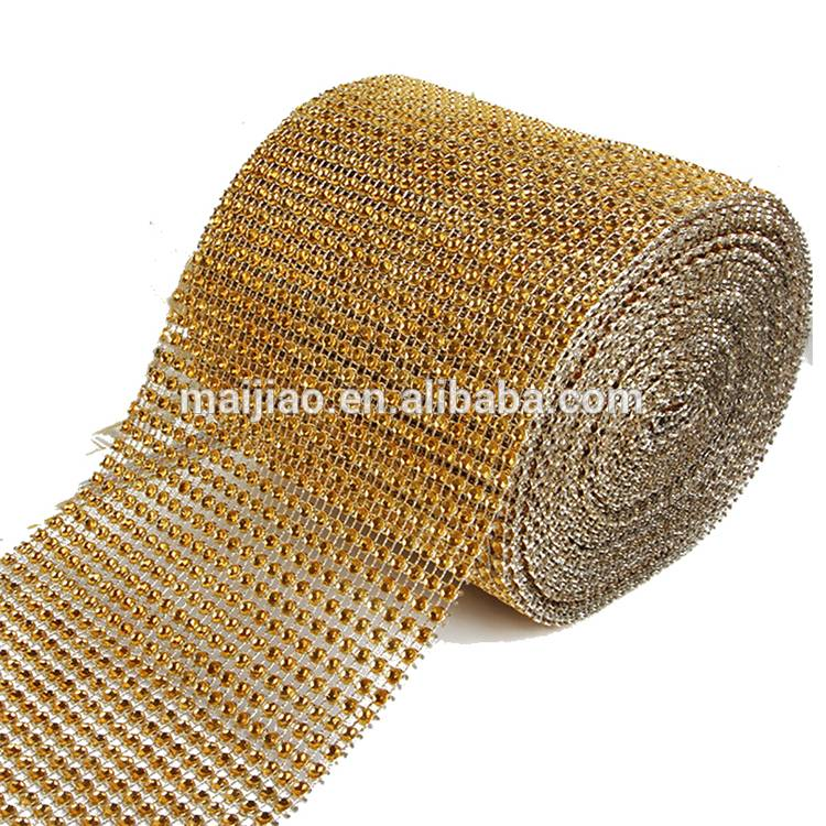 Wholesale Factory Good Price 24 Rows Plastic Cup Chain Rhinestone Sheet Mesh