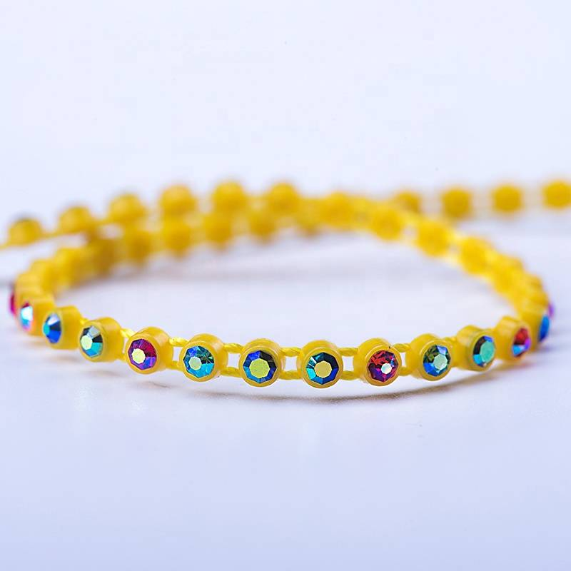 High Quality for Rhinestone Trim Banding - 3.1mm plastic rhinestone for jewelry yellow bottom AB color rhinestone – Erjiao