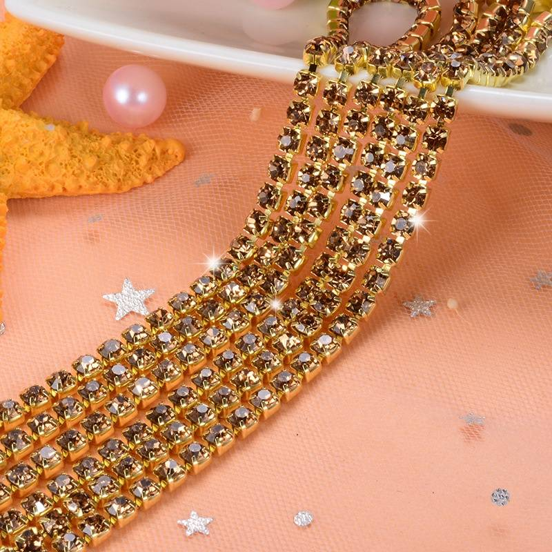 Shinny  Rhinestone Cup chain High Quality Cup Colored Chain for Jewelry in Rhinestones