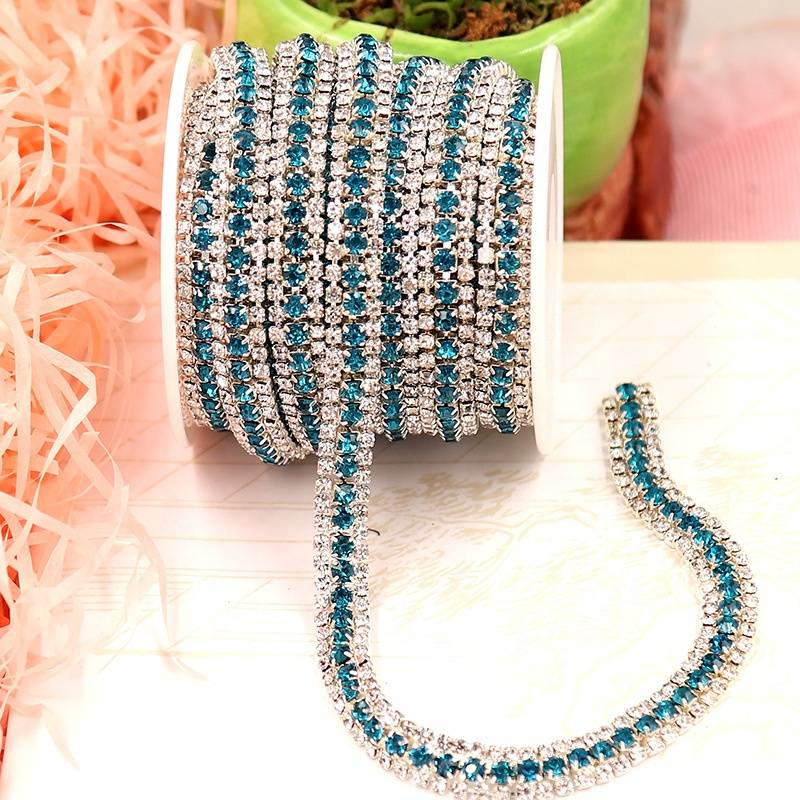 Reasonable price Silver Chain - High Quality Rhinestone Chain Wholesale Glass Chaton Beads Cup Chain Rhinestone Roll – Erjiao