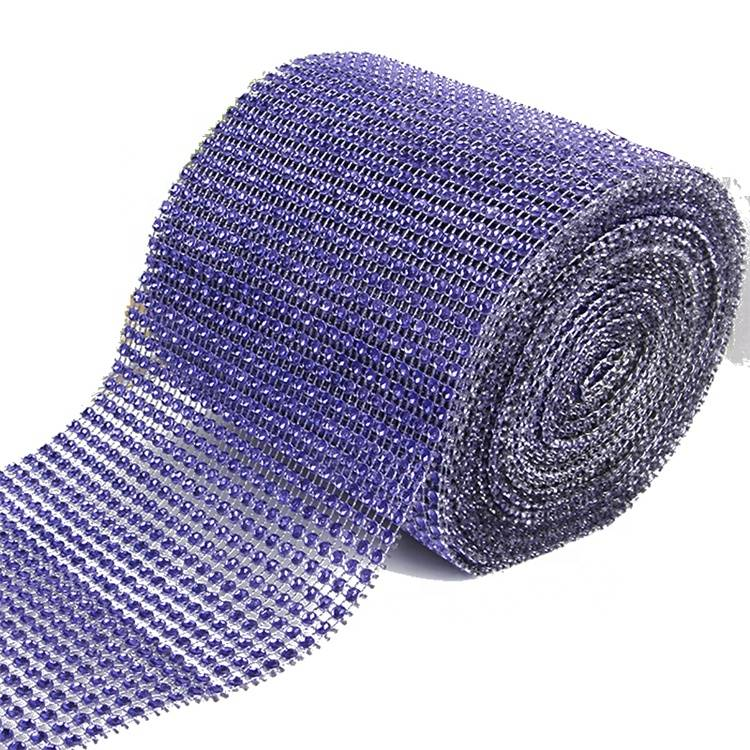 Cheap PriceList for Pink Rhinestones - Wholesale Good Price Purple Net Cup Chain Bling Bling Crystal Mesh Fabric Rhinestone – Erjiao