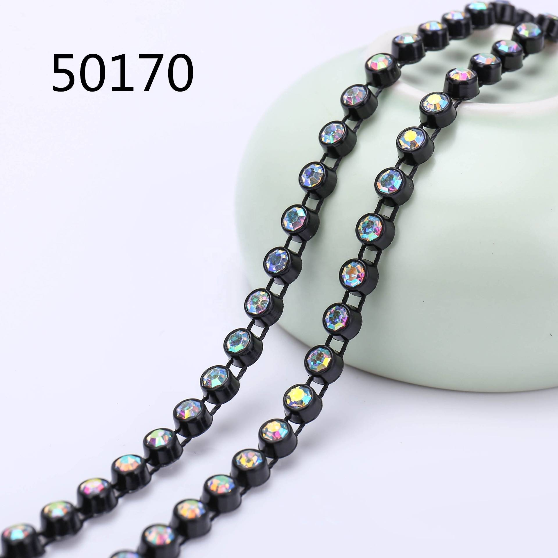 Better Quality Transparent Plastic Ss8 Handmade Collar Beaded Trim Crystal Black Setting Rhinestone Banding Trimming For Dress