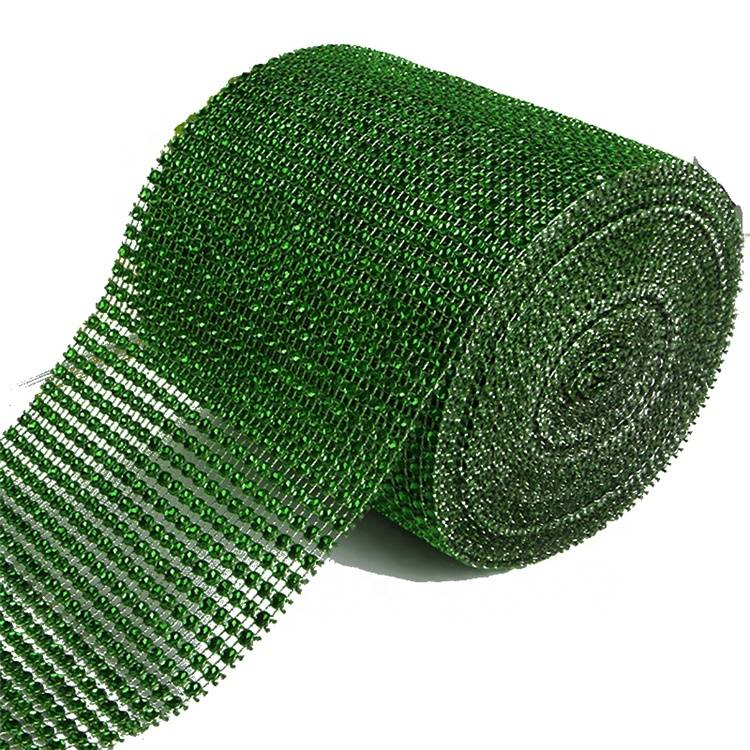 Good User Reputation for Silver Rhinestone Ribbon - High Quality Factory Net 24 Rows Plastic Cup Chain Rhinestone Mesh Trimming – Erjiao