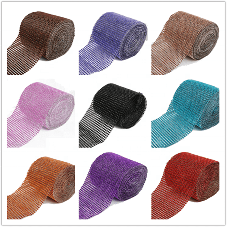2019 Newest Factory High Quality Cup Chain Plastic 24row Rhinestone Mesh