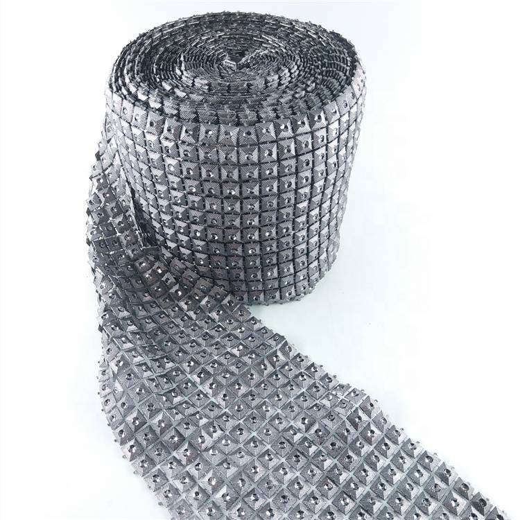 12 rows crystal rhinestone chain trimming plastic mesh