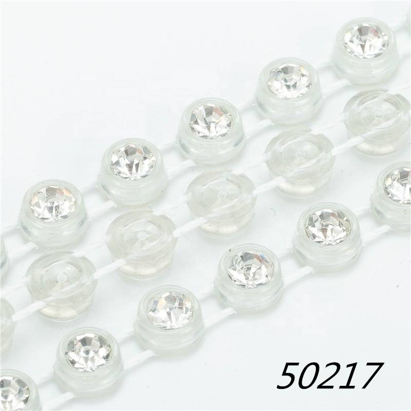 Wholesale High Quality Transparent Plastic Ss12 Ab Trim Neno Chain Rhinestone Banding Trimming For Garment Decoration