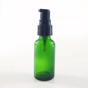 20-400 Neck Green Glass Bottle with Black Lotion Pump
