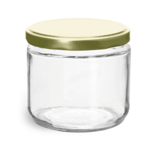 12OZ Round Glass Canning Jar with Plastisol Lined Lug Caps