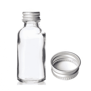 MBK Packaging 1OZ 30ml Clear Glass Bottle with Silver Lid
