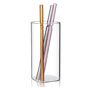 Colorful Reusable Straight Bent Glass Drinking Straw