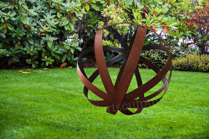 Hollowed Out Football Shape Corten Steel Sculpture As Front Yard Ornament