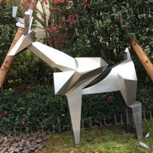Silver Sculpture Garden Artwork Outdoor Metal Art Sculpture Deer Animal Statue