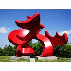 Painted Abstract Metal Sculpture Customized Size For Outdoor Garden Landscape