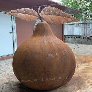 Natural Rusty Corten Steel Pear Sculpture