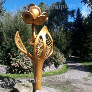 Golden Flower Stainless Steel Sculpture