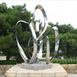 Casting Flower Sculpture Stainless Steel Sculpture Mirror Outdoor Garden Statues