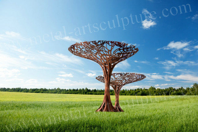 Metal Tree Design Outdoor Metal Art Sculpture Rust Resistance As Garden / Backyard Decor