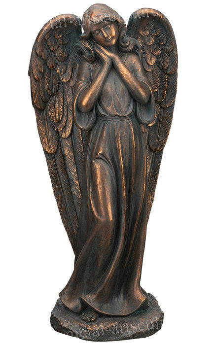 Art Garden Ornaments Statues Brass Outdoor Angel Statues Customized Size