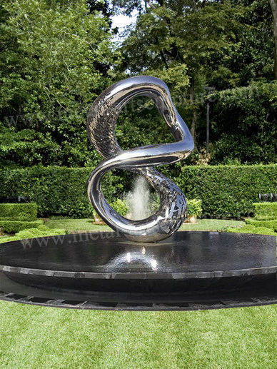 Polished Hollowed Out Modern Outdoor Sculpture Water Feature Fountain Decor