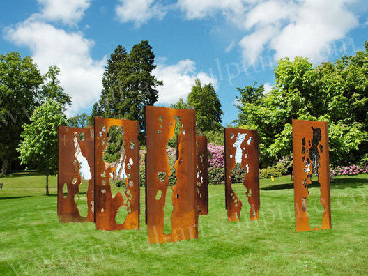 Skillful Corten Steel Plate Outdoor Sculpture Contemporary Abstract As Square Ornaments