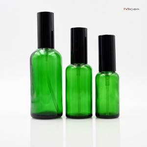 5-100ml Green glass bottle with sprayer and cap