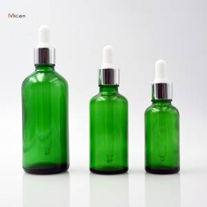 5-100ml Green glass bottle with dropper