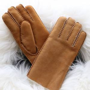 Classical handsewn double faced sheep shearling gloves for men