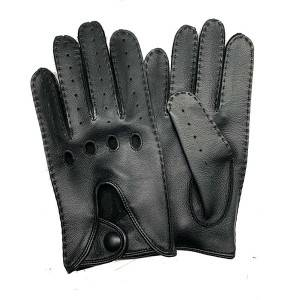 Ladies sheep leather driving gloves with handsewn