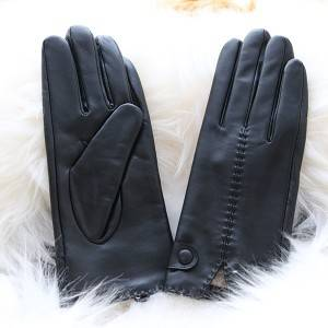 Renewable Design for Black Leather Gloves - Ladies sheep leather gloves with 2 rows of hand-stitching on back – Fanshen