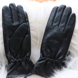 Ladies sheep leather gloves with Leather Strap ...