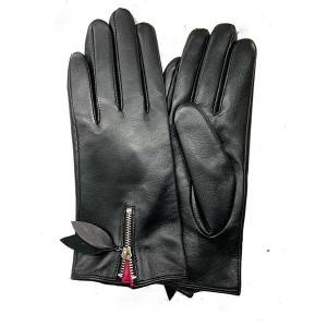 Ladies sheep leather gloves with zipper on back