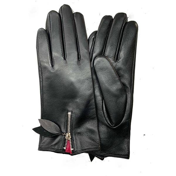 Ladies sheep leather gloves with zipper on back Featured Image