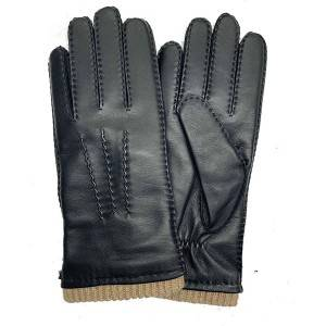 Manufacturer of Elkskin Leather Gloves - Men lamb/sheep leather fleece lined winter gloves with handsewn – Fanshen