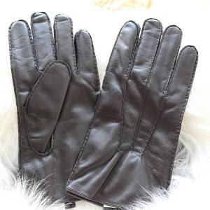 Men lamb leather fleece lined winter gloves with handsewn