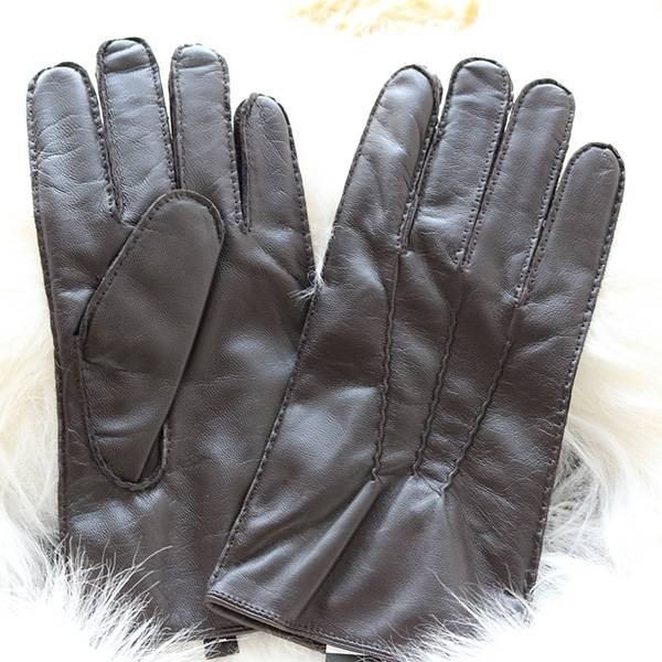 Online Exporter Red Leather Gloves - Men lamb leather fleece lined winter gloves with handsewn – Fanshen