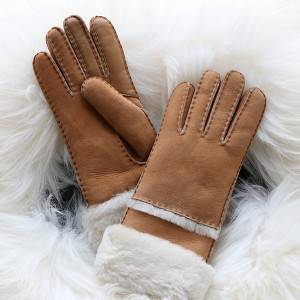 Ldies Genuine suede Lambskin gloves featuring with touch screen fingers
