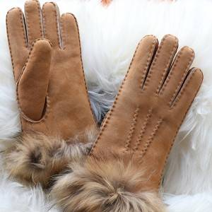 High definition Leather Safety Gloves - Ldies handmade suede Merino sheepskin gloves with fox fur cuff – Fanshen
