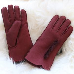 OEM Manufacturer Handmade Leather Gloves - handsewn merino sheepskin ladies gloves with waving cuff and wool out trim – Fanshen