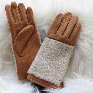 Fashion suded lambskin ladies gloves with wool out back