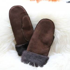 100% real suede sheepskin mittens
