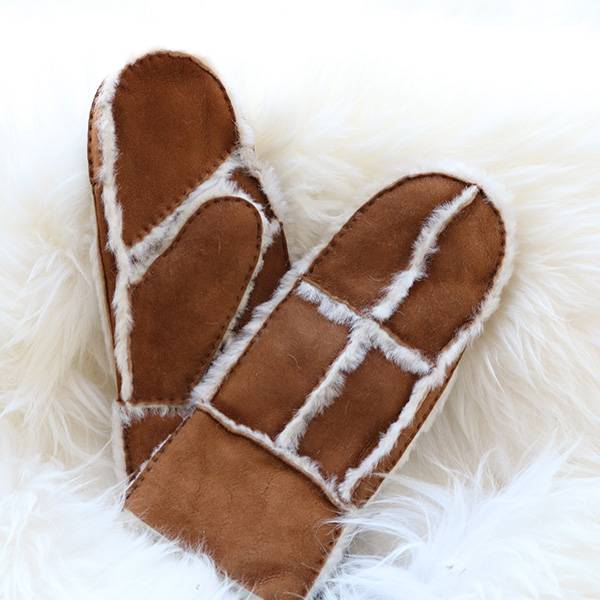 Chinese Professional Leather Touchscreen Gloves - Patches/Pieces suede sheepskin mittens feature wool out trim – Fanshen