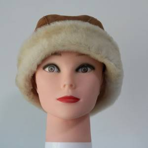 Shearling Sheepskin Russian visor winter hats