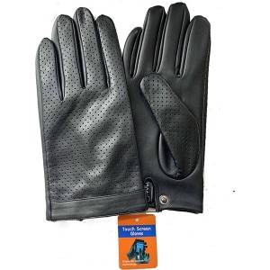 Ladies sheep leather gloves with 2 rows of hand-stitching on back