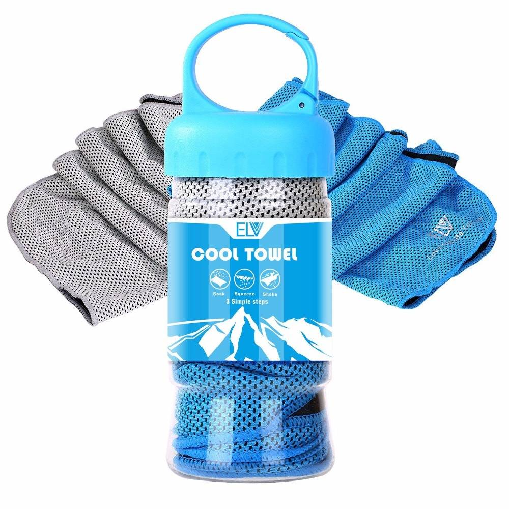 High quality grey blue microfiber sport towel with tube magic pva ice cool towel