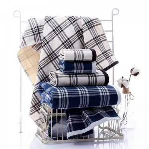 100% Cotton Stripes Home Towel One Side Terry One Side Gauze Bath Towel Set Gift Use