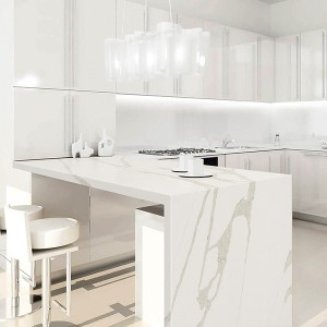 Personlized Products Pure White Stone Slab - quartz kitchen countertop – Montary